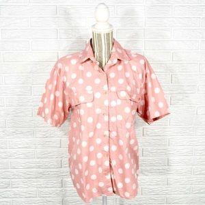 Vtg 80s Ilio Pink White Polka Dot Button Up Shirt